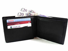 MENS DESIGNER GENUINE BLACK LEATHER CREDIT CARD HOLDER COIN POUCH WALLET