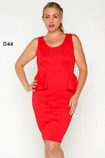 D44 Ladies Red Size 16/18 Bodycon Pencil Peplum Office Work Day Party Plus Dress