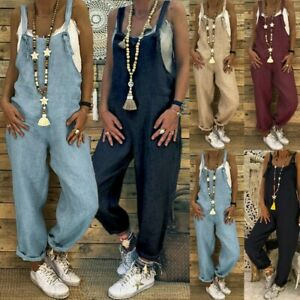 Women Plus Size Overalls Casual Loose Dungarees Romper Baggy Playsuit Jumpsuit
