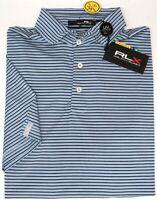 RLX Polo Ralph Lauren Lt Blue Striped Short Sleeve Wicking Shirt UPF 50+ NEW $89