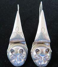 Art Deco VTG Egyptian Revival sterling silver cat 925 European ?  earrings