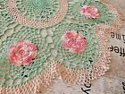 VINTAGE+HAND+CROCHETED+EMBROIDERED+DOILY%2FTABLE+TOPPER+X-LARGE+SIZE+-+BEAUTIFUL