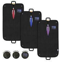 3x Suit Covers Garment Bags Dress Clothes Black Breathable Travel Carriers