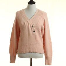 Semplice Sweater Small Light Pink V Neck Silk Angora Blend Wrap Front Ls B139
