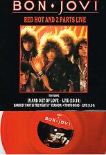 "BON JOVI - RED HOT AND 2 PARTS LIVE (VERXR22) UK 3 TRACK RED VINYL 12"" SINGLE"