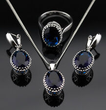 Oval Blue Sapphire  Set925 Silver Necklace Pendant Earrings Rings Size 8