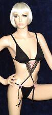 sexy Straps Stringbody, Schwarz, Spitzen Body mit Rosa Schleifchen, Gr. S-M, NEU