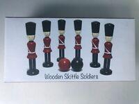 Children's Traditional Wooden skittle Set Guardsmen Outdoor Indoor Bowling Toy