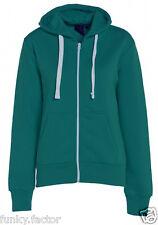 Womens Ladies Girls Plain Fleece Hoodie Zip Sweatshirt Jacket PLUS size UK 8-26*