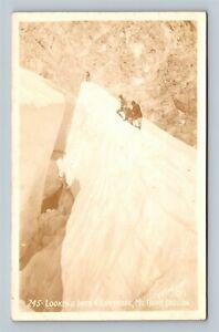 RPPC of Mt Hood OR, Looking Into A Crevasse, Oregon Postcard