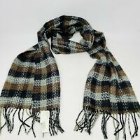 Softer Than Cashmere Unisex Black Gray Brown Plaid Womens Mens Scarf Fringe