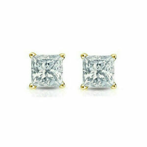 14K Solid Yellow Gold Square CZ Princess Cut Earrings 7mm Genuine 14K Gold