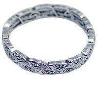 Lia sophia woman jewelry stretch bangle vintage silver tone adjustable bracelet