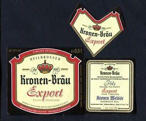 Bieretiketten Kronenbrauerei Halter Heilbronn Biberach