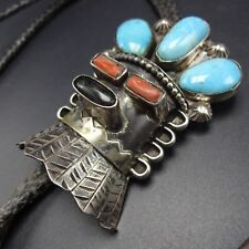 & Turquoise Kachina Bolo Tie Signed Vintage Navajo Sterling Silver Coral