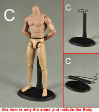 1/6 Metal Stand Figure Black Display Stand Holder Fixed Waist Adjustable Height