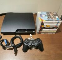 Sony PlayStation 3 PS3 Slim 250GB Console Mega Bundle 10 Games & Controller