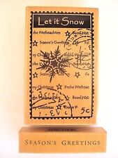 Hero Arts LET IT SNOW Seasons Greetings set of 2 rubber stamps Winter Christmas