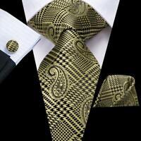 USA Green Paisley Men's Tie Silk Necktie Set New Hanky Cuff links Wedding