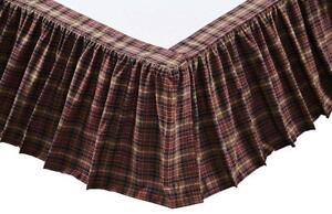 Burgundy + Brown Plaid Country Bed Skirt Gathered Dust Ruffle Abilene Star