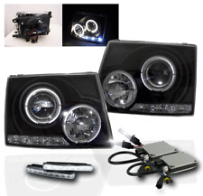 1997-2000 TOYOTA TACOMA BLACK HALO LED PROJECTOR HEADLIGHT+WHITE DRL LAMP+6K HID
