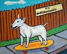 Bull terrier dog , dog art, 8x10 print, skateboarding print, gift for skateboard