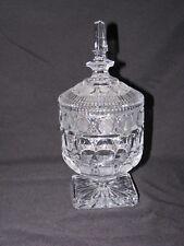 Vintage Estate Clear Crystal Biscuit Jar Barrel with Lid Thumbprint Mint