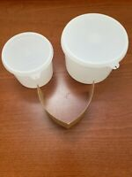 NEW VINTAGE Sheer Tupperware Round Stacking Storage Canister w/ Lids 263 & 250
