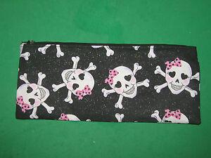"Pencil Case-""SKULL & CROSSED BONES""-  Cloth Zipper Pouch-Handmade Bag"