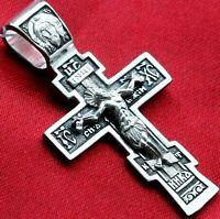 Sterling Silver 925 Russian Orthodox Body Crucifix Prayer Cross Fine Jewelry New