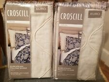 "Set of 2 Croscill Euro Gavin European Pillow Sham 26"" x 26"" Natural New Package"