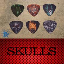 Skull  SINGLE SIDED PICTURE GUITAR PICKS  Set of 6