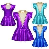 UK_Girl Show Dance Costume Gymnastics Ballet Dance Gym Leotard Tutu Skirt Outfit