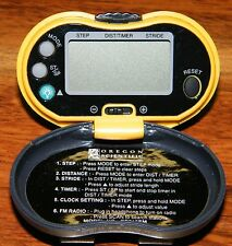 Yellow Pedometer w/ FM Radio Scanner (PE316FM) Tracks Distance & Elapsed Time!