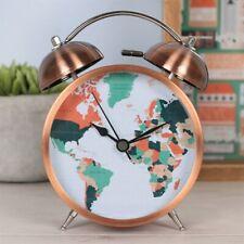 World Map Traditional Metal Bell Alarm Clock Light Bedside Travel Gift Copper