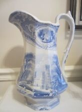"ANTIQUE BLUE & WHITE TALL 13"" TRANSFER-WARE PITCHER MINT CONDITION"