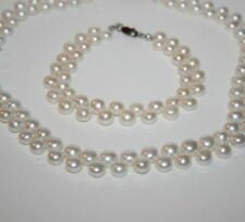 GENUINE WHITE 2 ROW FRESHWATER CULTURED PEARL NECKLACE & MATCHING BRACELET P7