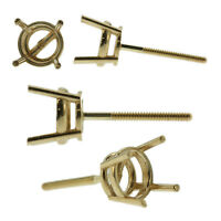 14k Yellow Gold Round Stud Earring Mounting Setting Screw Back Post 4 Prong