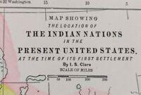 "Vintage 1900 INDIAN NATIONS Map 14""x11"" ~ Old Antique Original TRIBES"