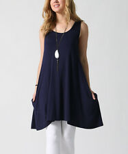 Ladies Womens Size UK 8 Sleeveless Tunic Dress Navy Blue Side Pockets NEW #637