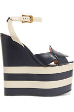 New GUCCI Two-tone Striped Leather Wedge Sandals