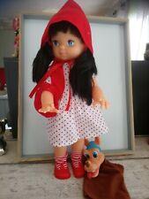 Poupée petit chaperon rouge 44 cm + marionnette loup