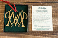 Vintage 1992 Virginia Metalcrafters William and Mary Cypher Brass Ornament
