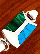 Taxco Mexican Sterling Silver Bracelet: Malachite & Turquoise Inlay Maker TO-40