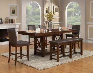 Alpine Furniture Artisan Counter Height Dining Table, Pecan