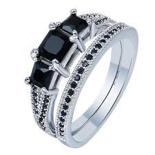 2pcs  Nice Women Black  Sapphire  Gemstone 925 silver Couple  Ring Size10 M554