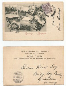 SINGAPORE 1906 PC Multiview Greetings....Singapore, sent to Poland @ 3c rate