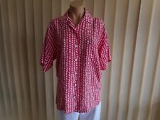 COUNTRY ROAD BLOUSE SMALL GENEROUS SIZE WATERMELON PINK & WHITE OVAL SHAPES
