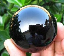 BLACK 80MM +STAND NEW SPHERE NATURAL QUARTZ OBSIDIAN POLISHED CRYSTAL BALL