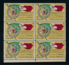 ITALY 1915-16 WW1 FIRENZE ROTARY 5c CHARITY FUND LABELS BLOCK of 6